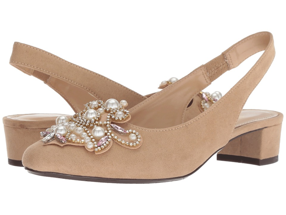 J. Renee Delroy (Beige Suede/White Pearls) Women's Shoes