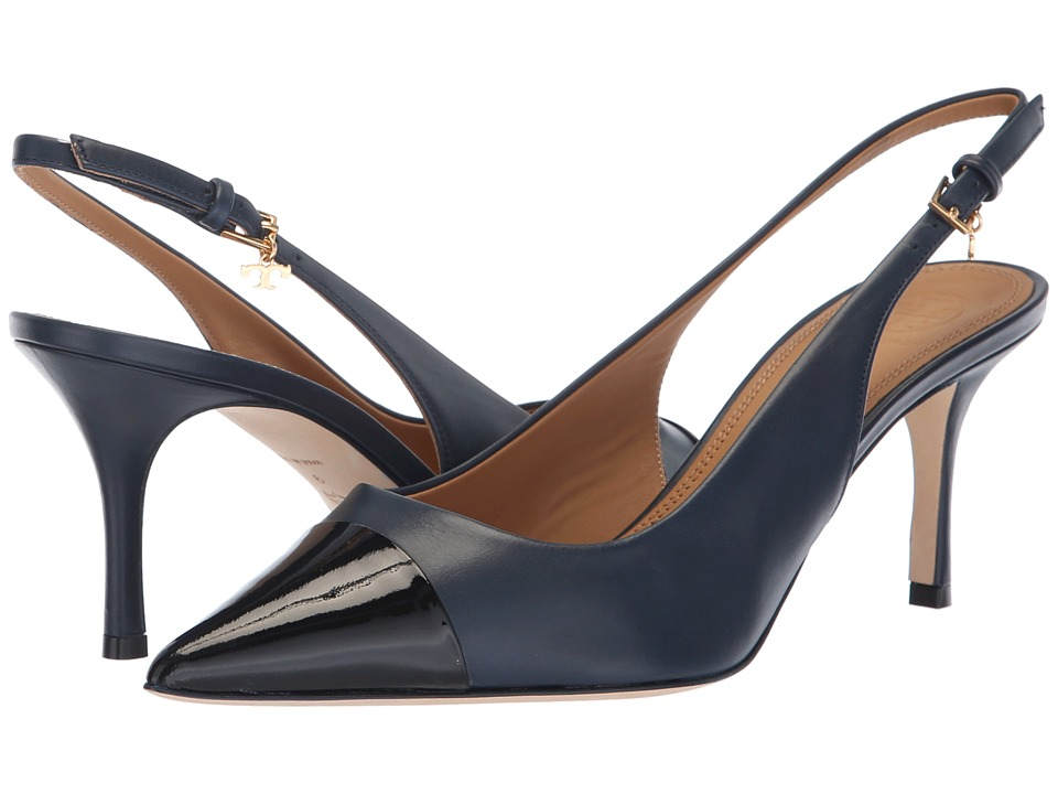 Tory Burch Penelope 65mm Cap Toe Slingback Pump (Perfect Navy/Perfect Black) Women's Shoes