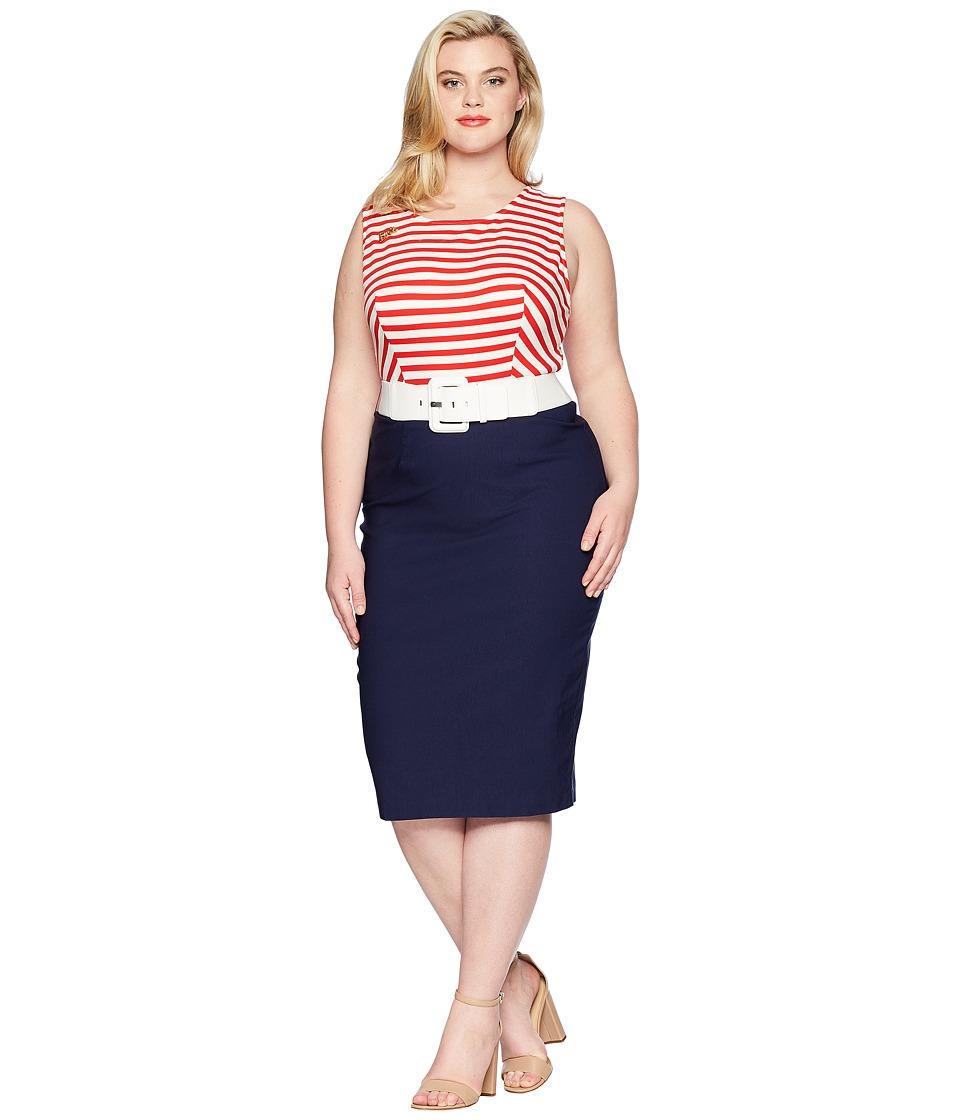 Unique Vintage - Plus Size Barbie x UV Cruise Stripes Dress (Red/White/Blue) Womens Dress