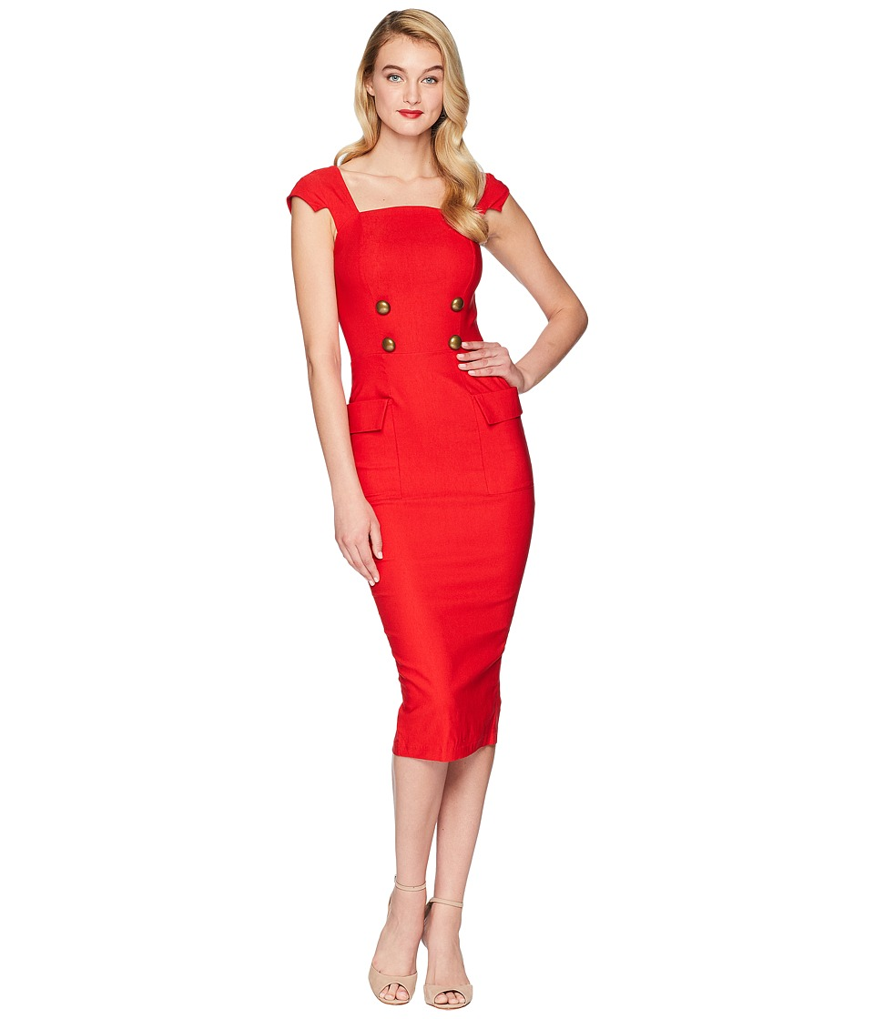 Unique Vintage - Barbie x UV Sheath Sensation Dress (Red) Womens Dress