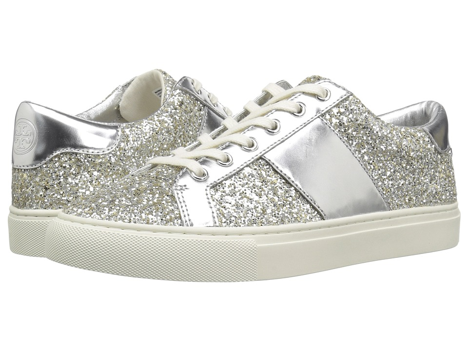 Tory Burch Carter Glitter Lace-Up Sneaker (Silver/Silver) Women's Shoes