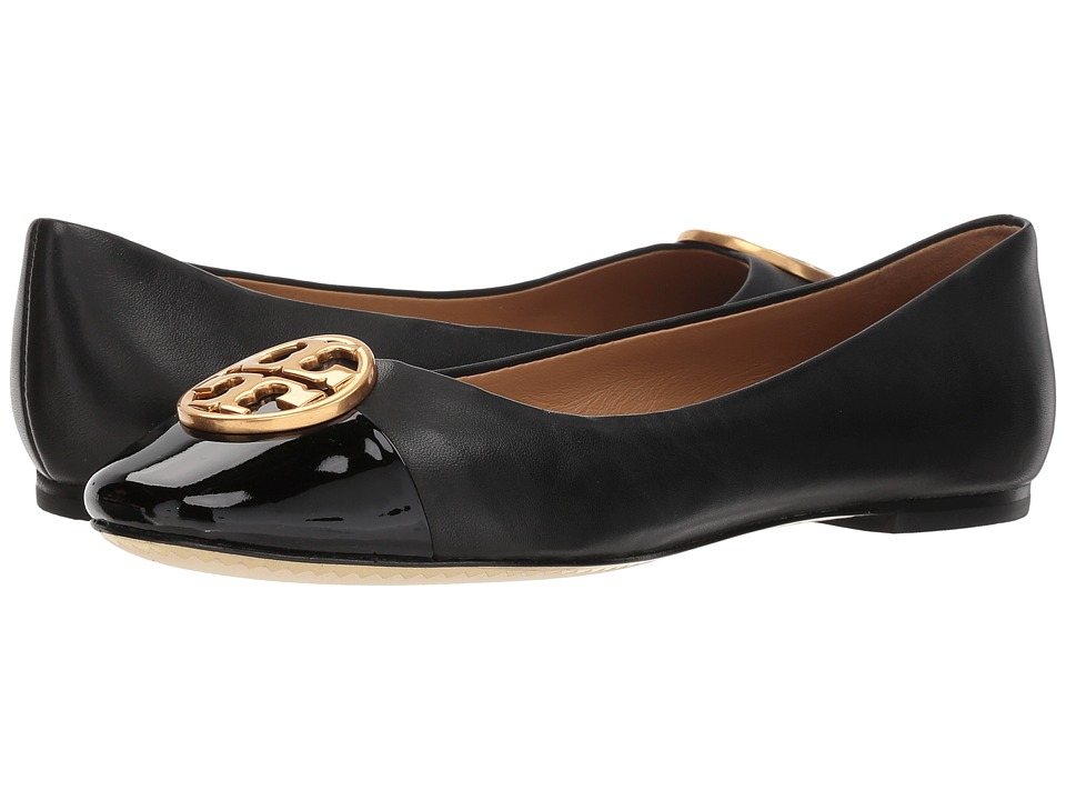 Tory Burch Chelsea Cap-Toe Ballet (Black/Black) Women's Shoes