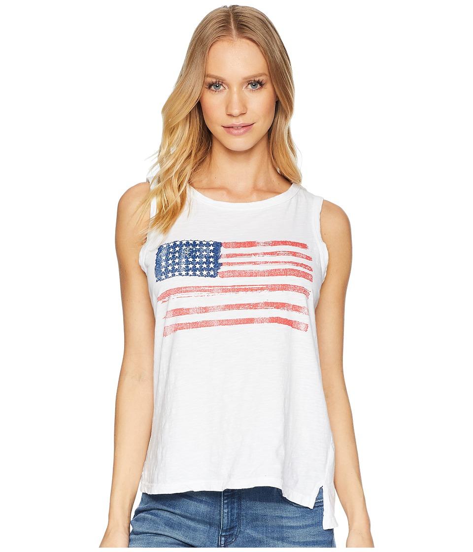 The Original Retro Brand - American Flag Sleeveless Slub Tank Top (White) Womens Sleeveless