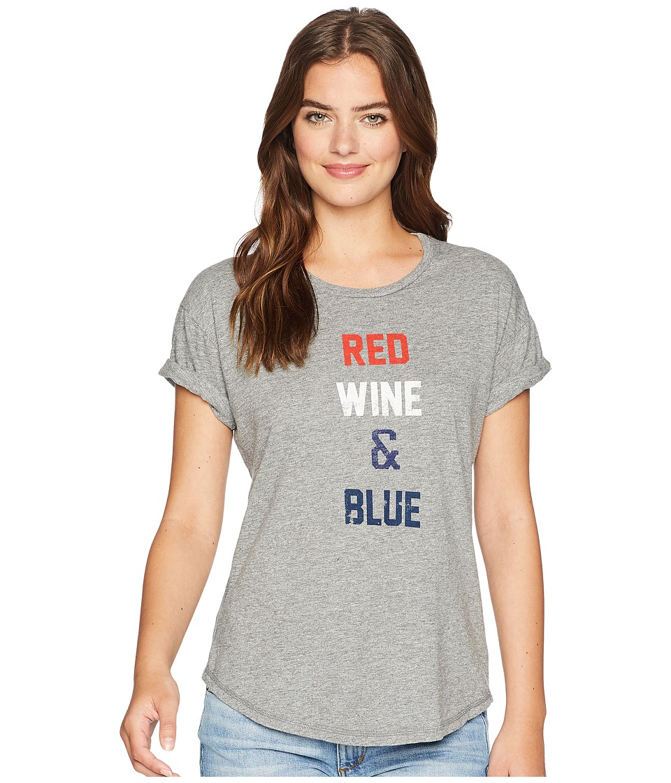 The Original Retro Brand - Red Wine and Blue Rolled Short Sleeve Mocktwist Tee (Mocktwist Heather Grey) Womens T Shirt