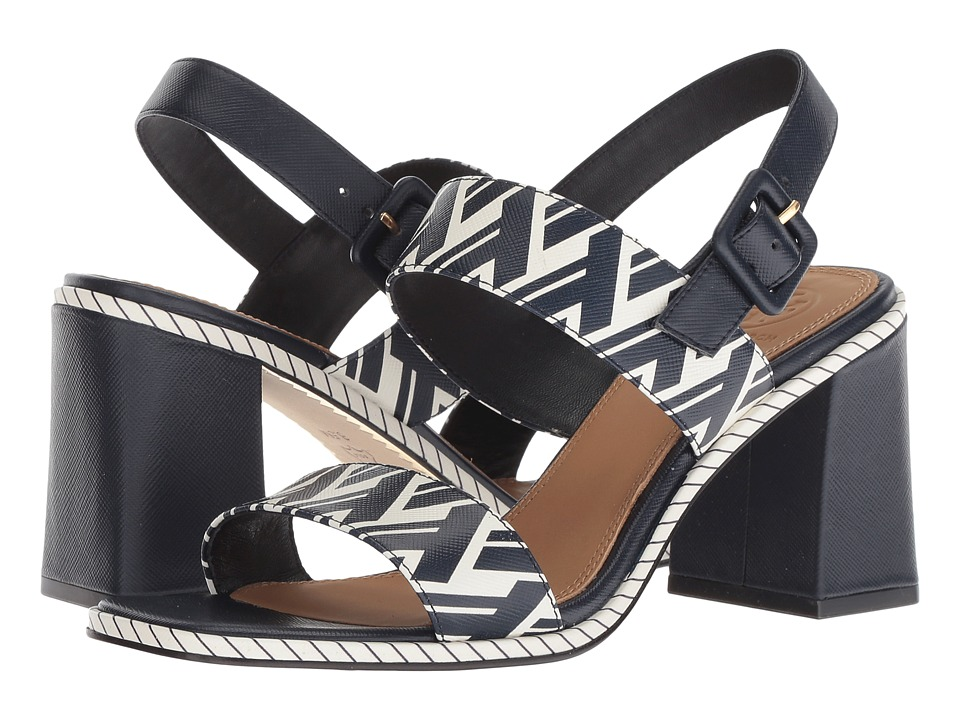 Tory Burch Delaney 75mm Sandal (Navy T Lattice) Women's Shoes