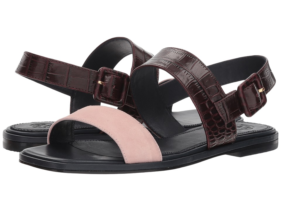 Tory Burch Delaney Flat Sandal (Sea Shell Pink/Malbec) Women's Shoes