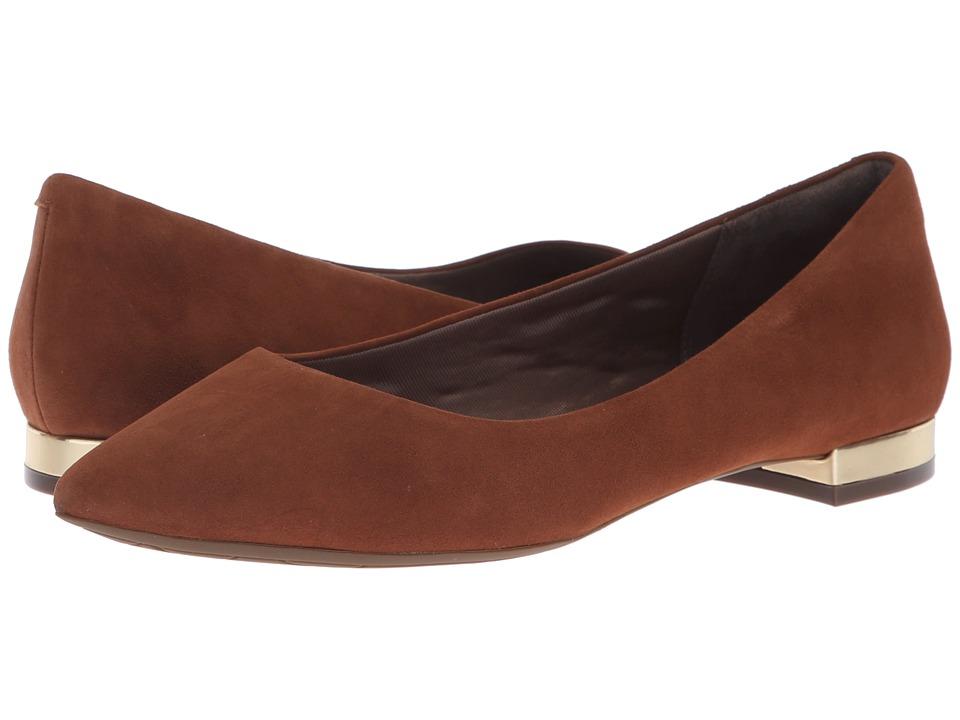 Rockport Total Motion Adelyn Ballet (Almond Suede) Women's Dress Flat Shoes