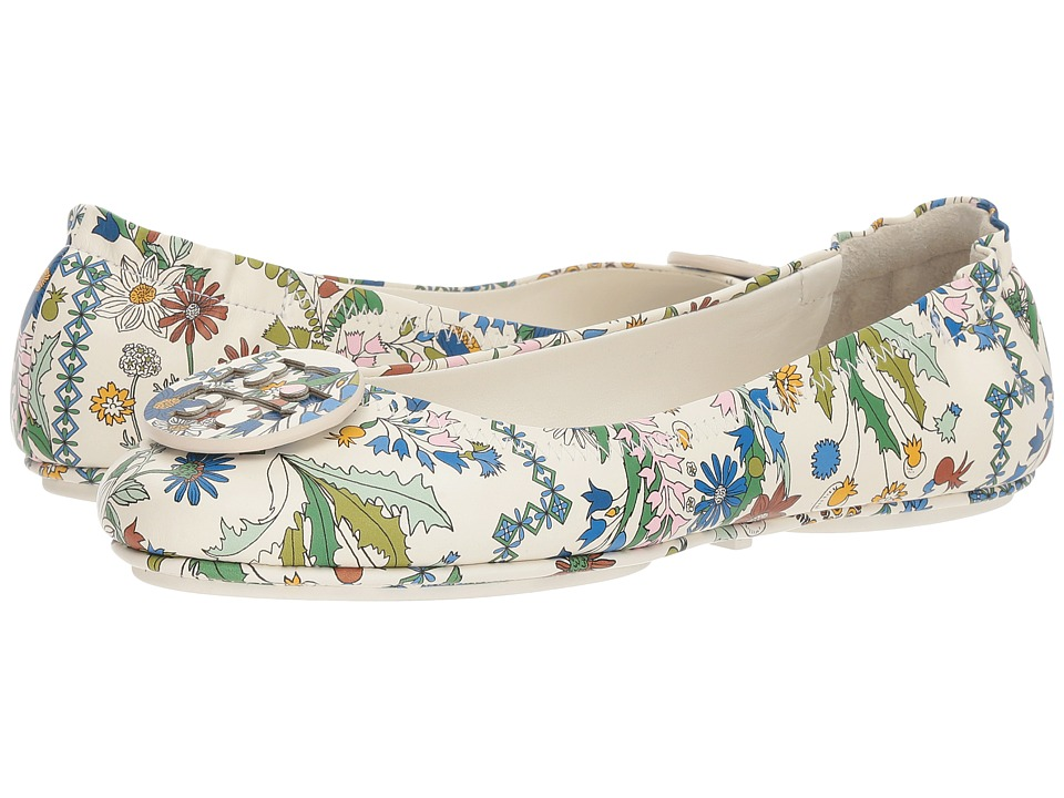 Tory Burch Minnie Travel Ballet Flat (Ivory/Meadow Sweet) Women's Shoes