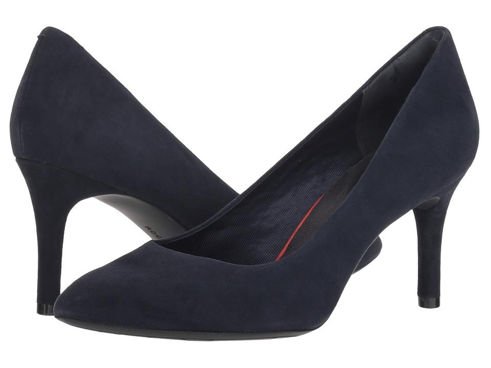 Rockport Total Motion 75mm Pointy Toe Plain Pump (Dark Sapphire Kid Suede) Women's Shoes