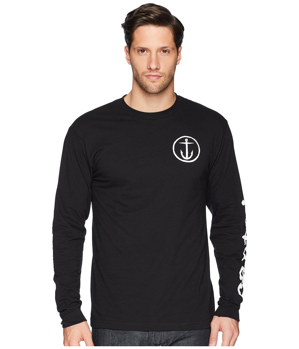 Captain Fin - Typewriter Long Sleeve Tee (Black) Mens T Shirt