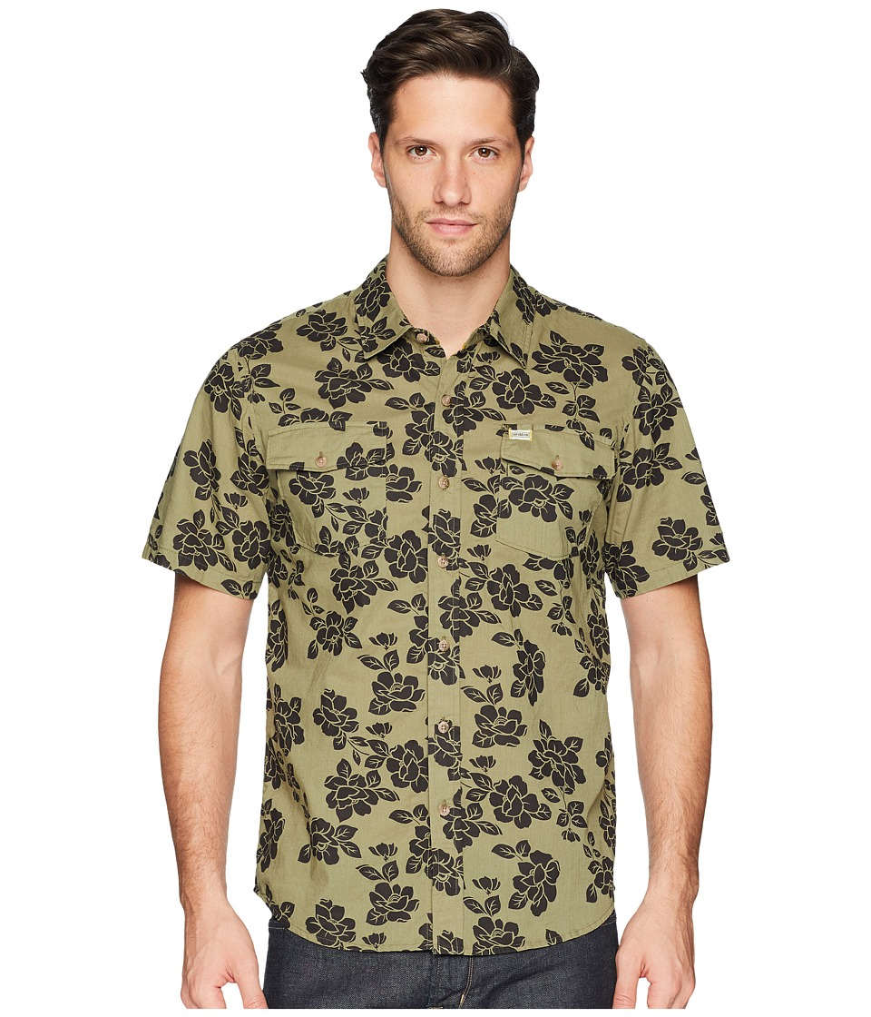 Captain Fin - Jungle Rose Short Sleeve Woven (Olive) Mens Clothing