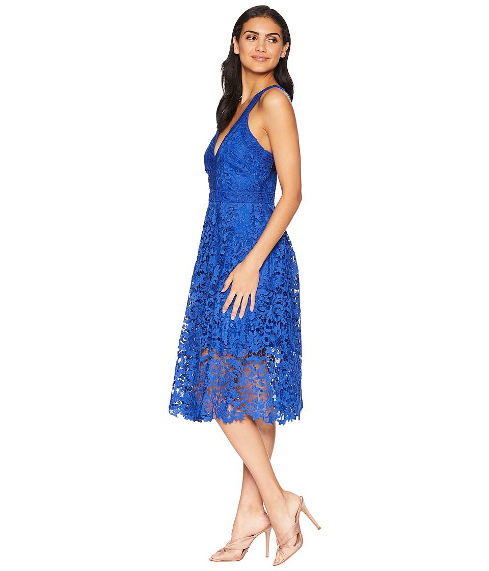 Adelyn Rae Marilyn Woven Lace Midi Dress (Cobalt)