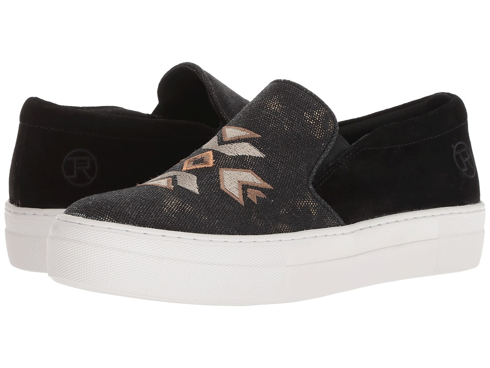 Roper Darcy (Black Suede Heel/Canvas Embroidered Upper) Slip-On Shoes