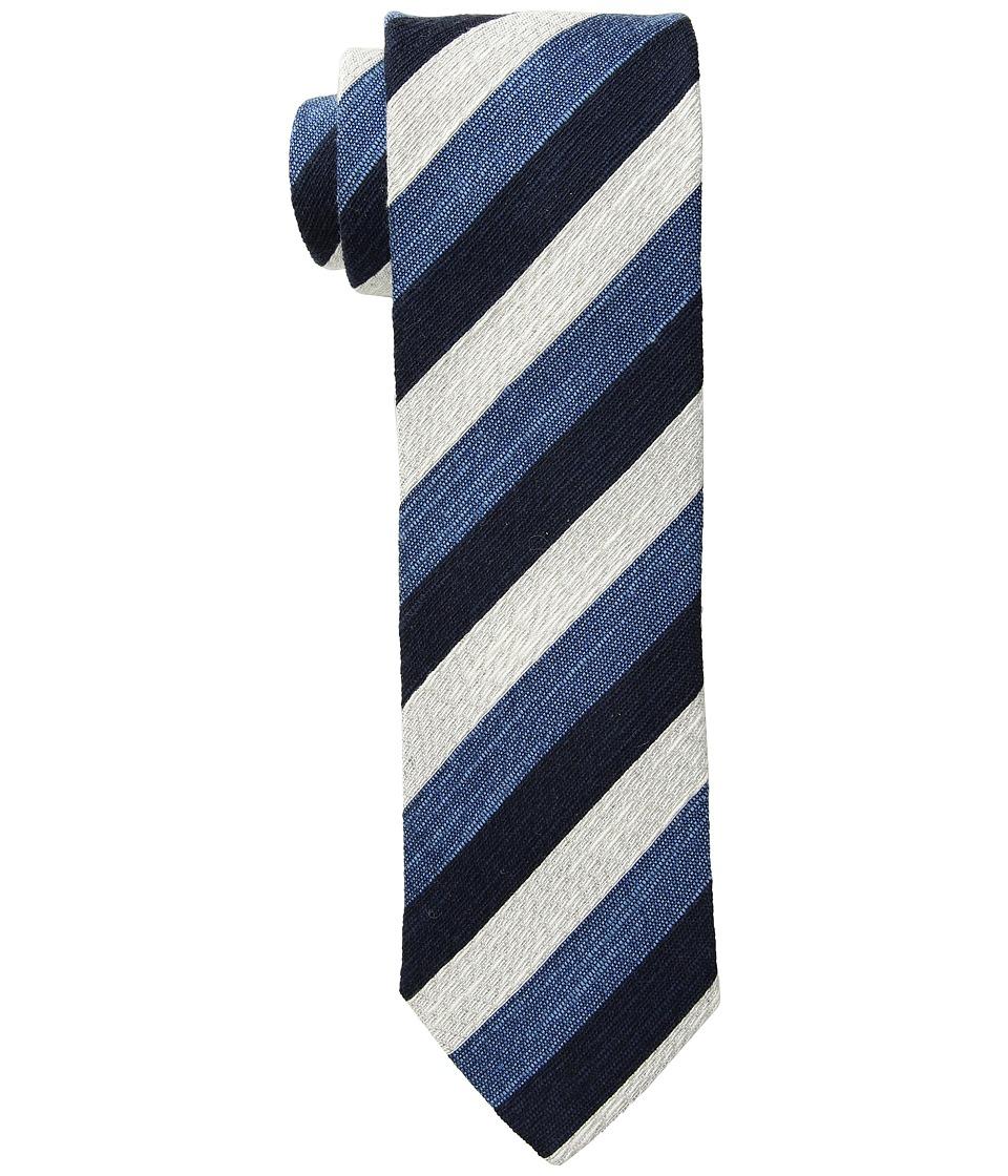 Eton - Striped Rep Tie (Navy/Light Blue/White) Ties