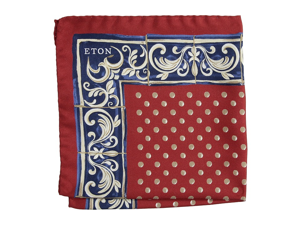 Eton - Medallion Print with Border Pocket Square (Red) Scarves