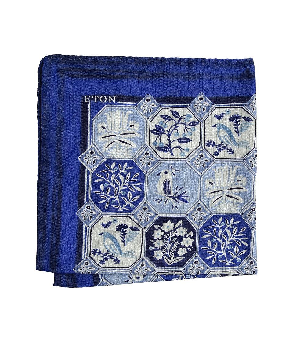 Eton - Tile Print Pocket Square (Blue) Scarves