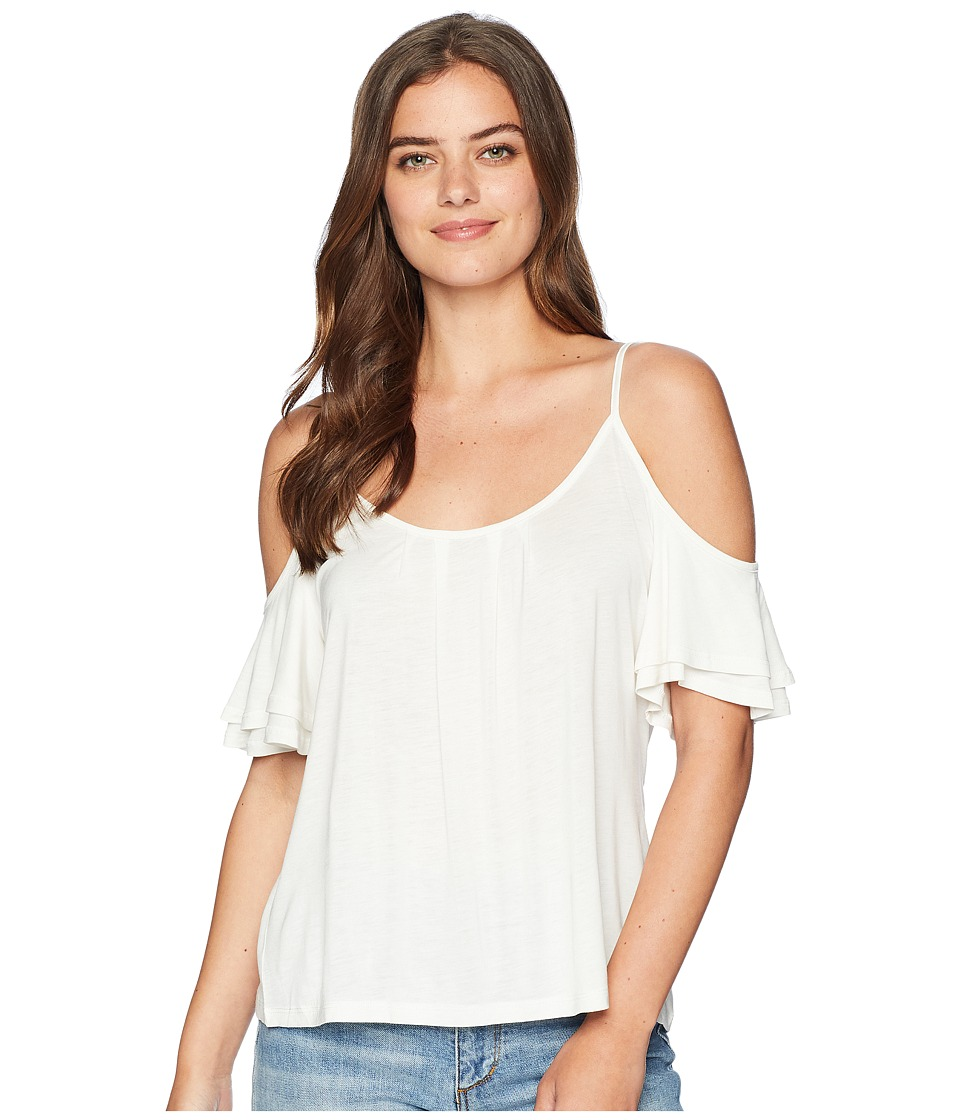 Miss Me - Cold Shoulder Ruffle Sleeve Cami (Off-White) Womens Sleeveless