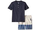 Ralph Lauren Baby Ralph Lauren Baby Jersey Henley Poplin Shorts Set (Infant)