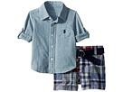 Ralph Lauren Baby Shirt, Belt Madras Shorts Set (Infant)