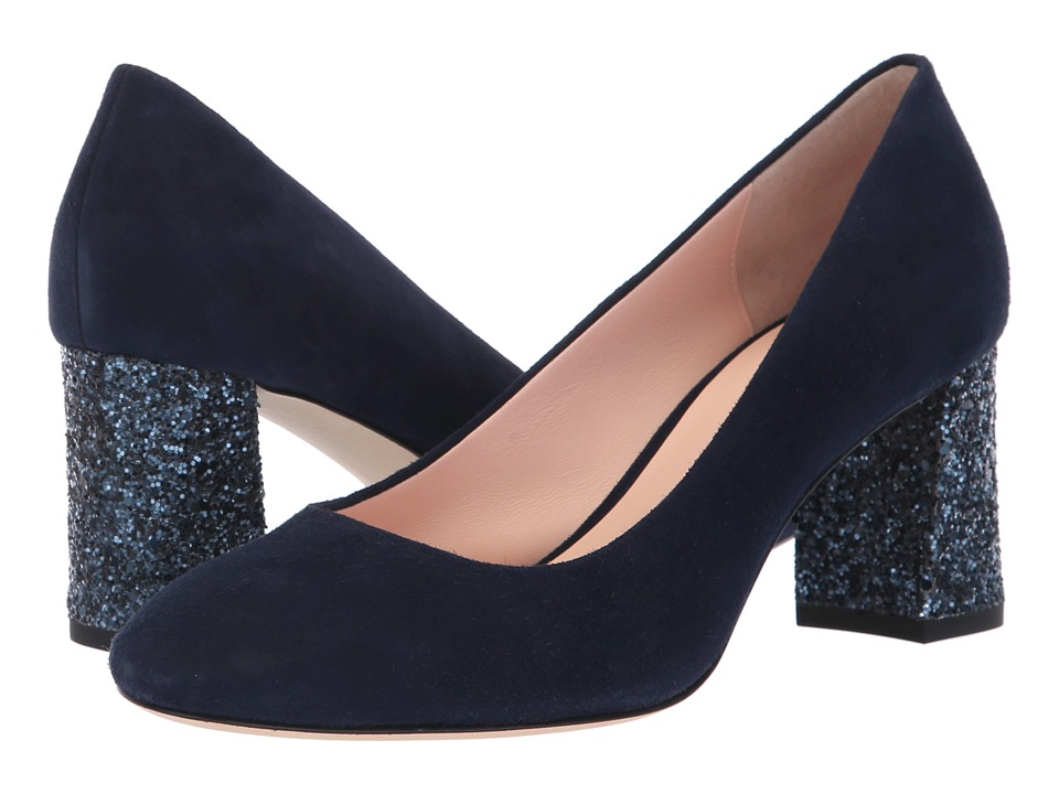 Kate Spade New York Charlize (Navy Suede/Navy Glitter) Women's Shoes