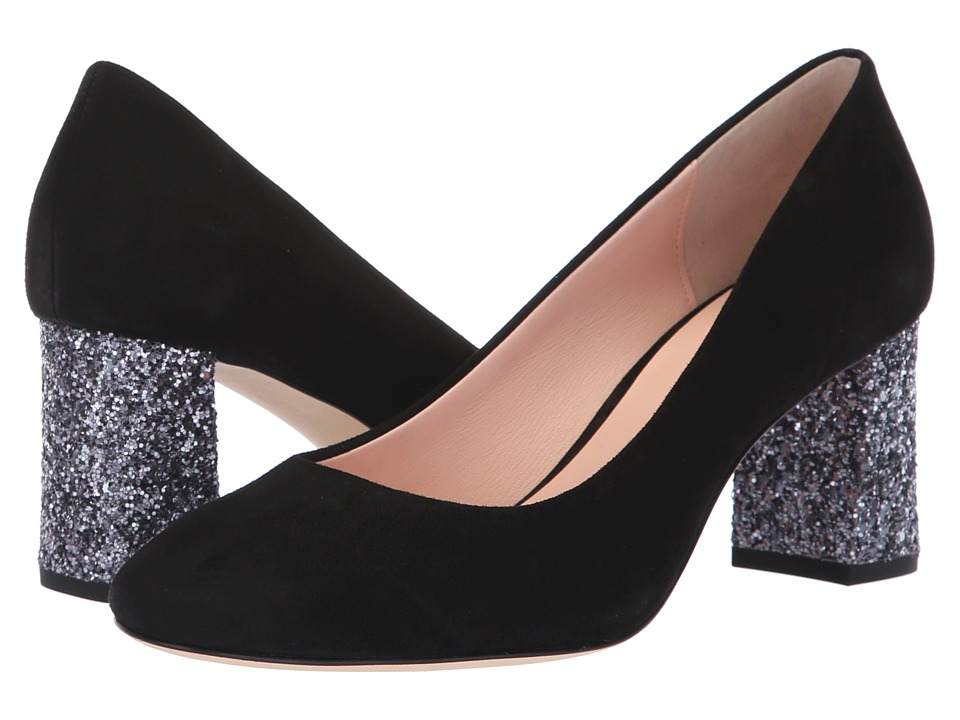Kate Spade New York Charlize (Black Kid Suede/Anthracite Glitter) Women's Shoes