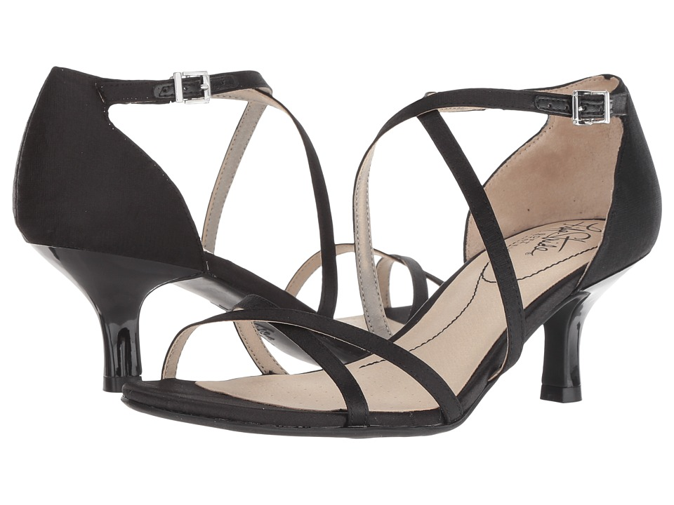LifeStride Flaunt (Black Textured Satin) Sandals