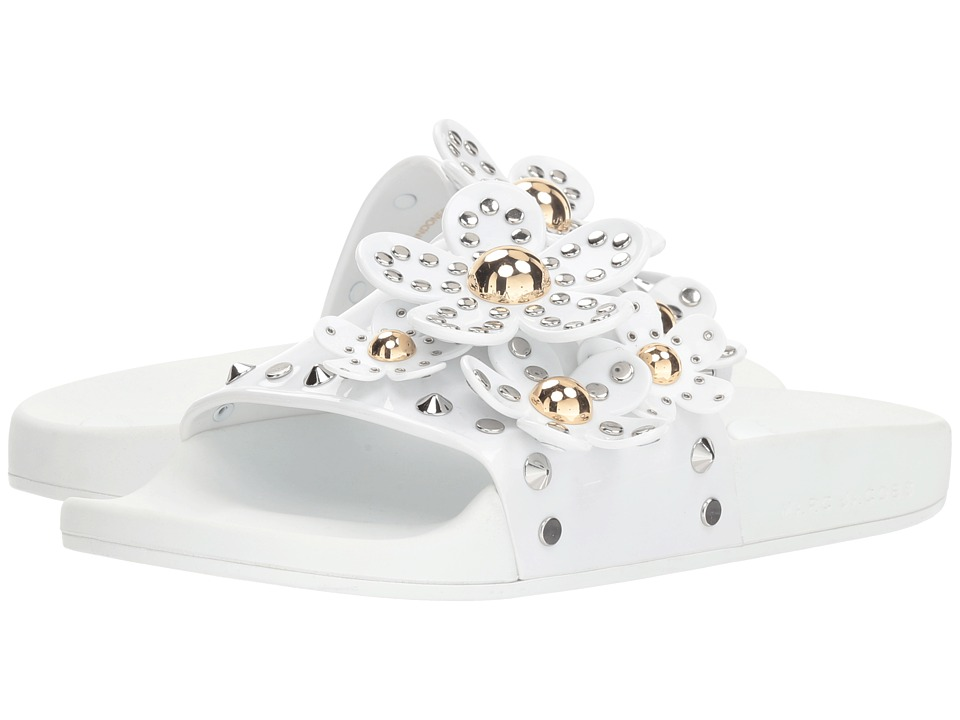 Marc Jacobs Daisy Studded Aqua Slide (White) Women's Shoes