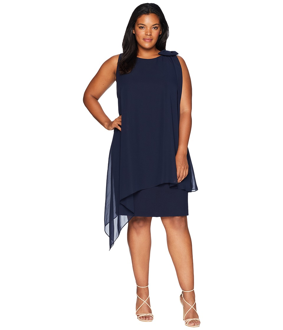 1920s Style Dresses, Flapper Dresses Tahari by ASL Plus Size Sleeveless Chiffon Sheath with Bow Detail on Shoulder Navy Womens Dress $138.00 AT vintagedancer.com