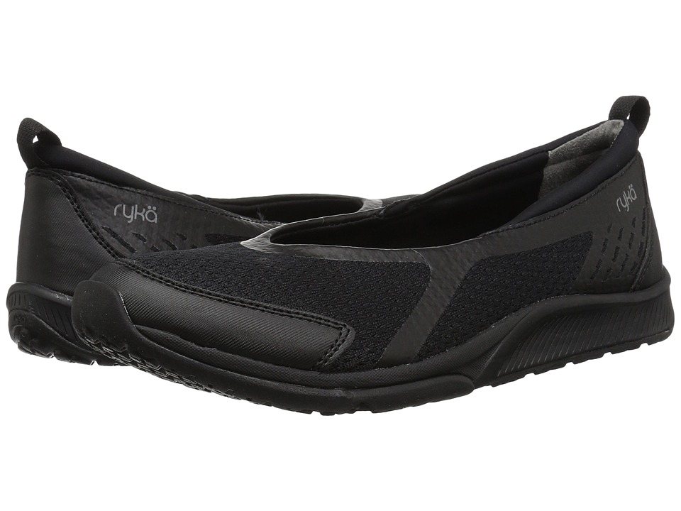 Ryka Finesse (Black/Black Fabric/PU) Slip-On Shoes