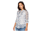 Vince Camuto Specialty Size Petite Long Sleeve Ruffle Front Boutique Floral Blouse
