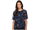Vince Camuto Specialty Size Petite Ruffled Short Sleeve Garden Heirloom Floral Blouse