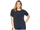 Vince Camuto Specialty Size Plus Size Ruched Sleeve Romantic Dots Top