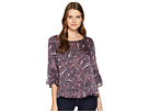 Vince Camuto Gathered Sleeve Boat Neck Paisley Muses Blouse