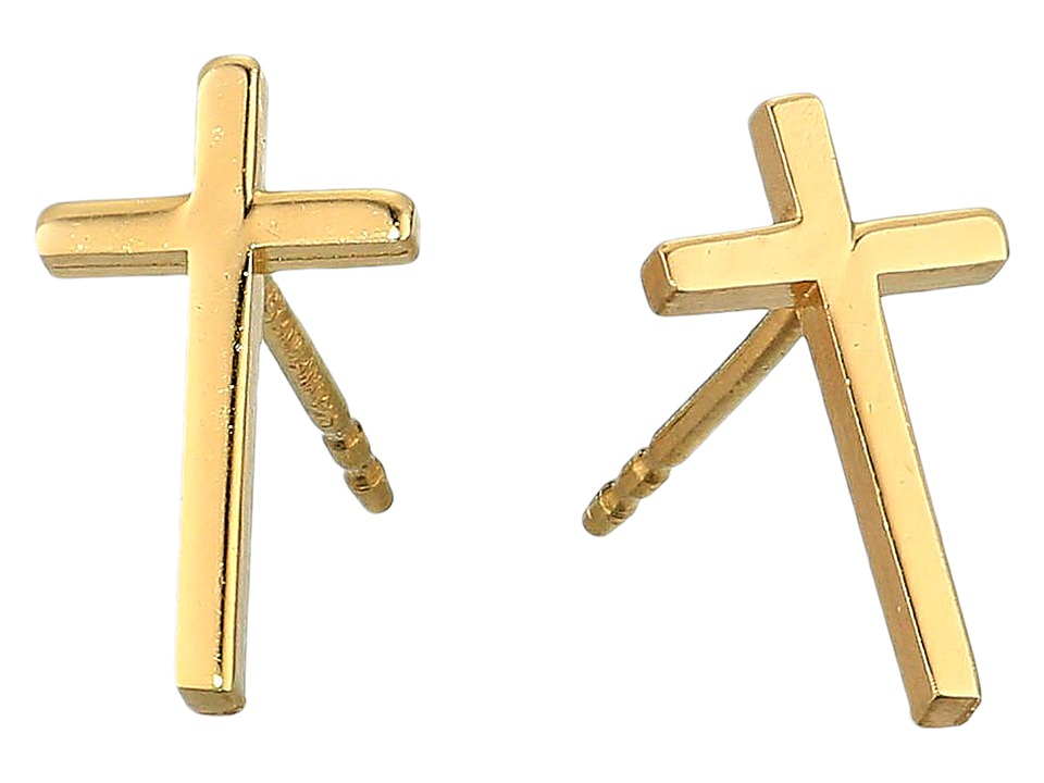 Alex and Ani - Cross Post Earrings - Precious Metal (14KT Gold Plated) Earring