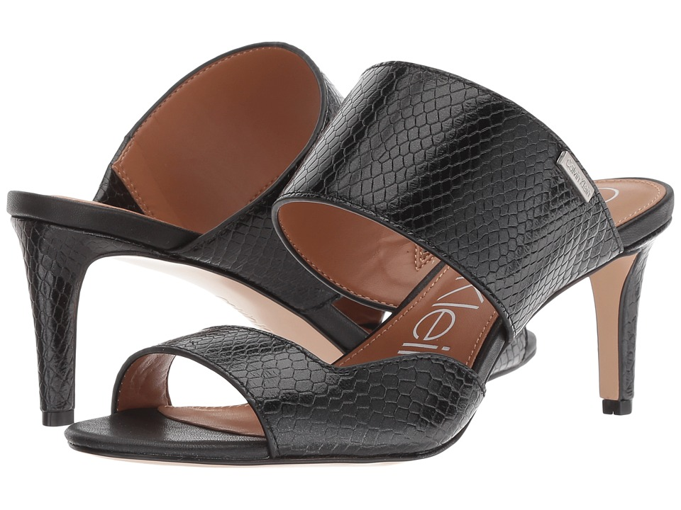 Calvin Klein Clementine (Black Shiny Snake Print) Women's Shoes