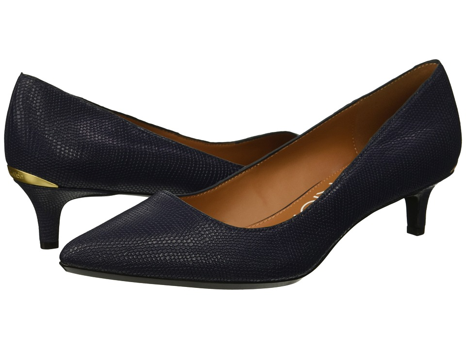 Calvin Klein Gabrianna Pump (Dark Navy Shiny Lizard) 1-2 inch heel Shoes