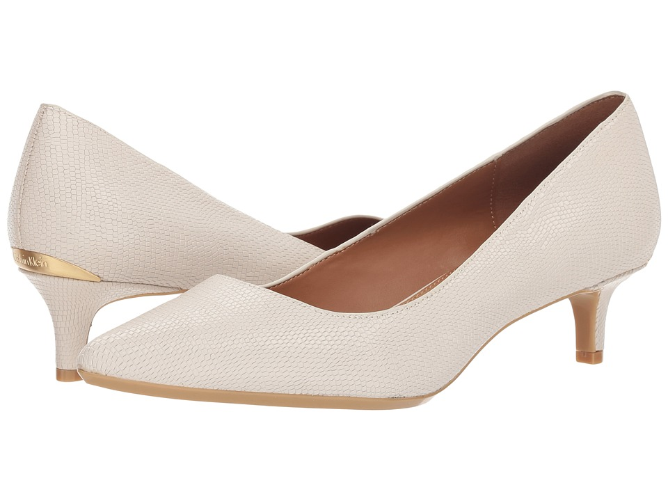Calvin Klein Gabrianna Pump (Soft White Shiny Lizard) 1-2 inch heel Shoes