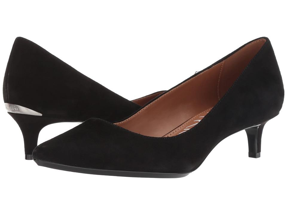 Calvin Klein Gabrianna Pump (Black Suede/Kidskin) 1-2 inch heel Shoes