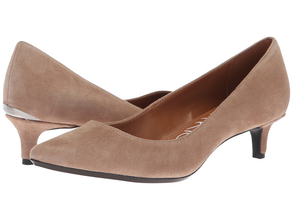 Calvin Klein Gabrianna Pump (Tobacco Kid Suede) 1-2 inch heel Shoes