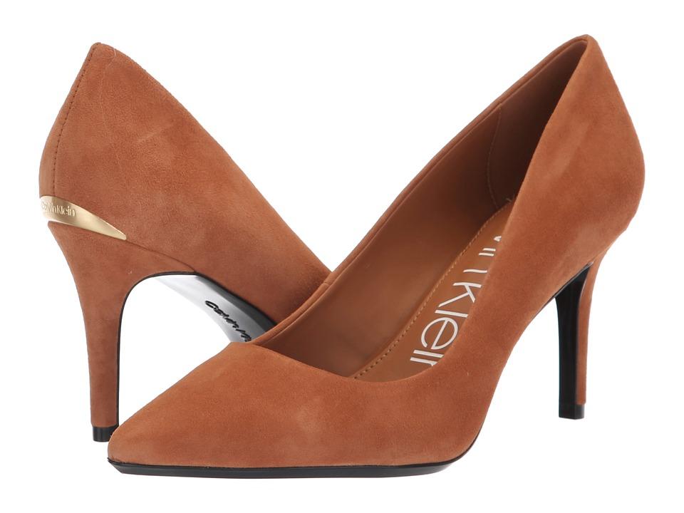 Calvin Klein Gayle Pump (Cognac Kid Suede) High Heels