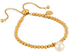 Majorica 10mm Round Pearl on Gold Plated Steel Beaded Bracelet 6.5-11