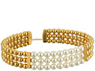 Majorica 4mm Round Pearls on Gold Plated Steel Beaded Bangle with Security Chain