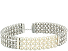 Majorica 4mm Round Pearls on Steel Beaded Bangle with Security Chain