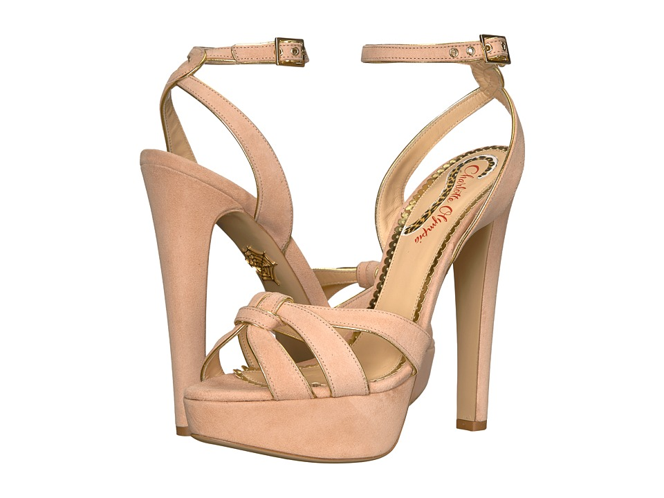 Charlotte Olympia It Girl (Blush Suede/Gold) Women's Shoes