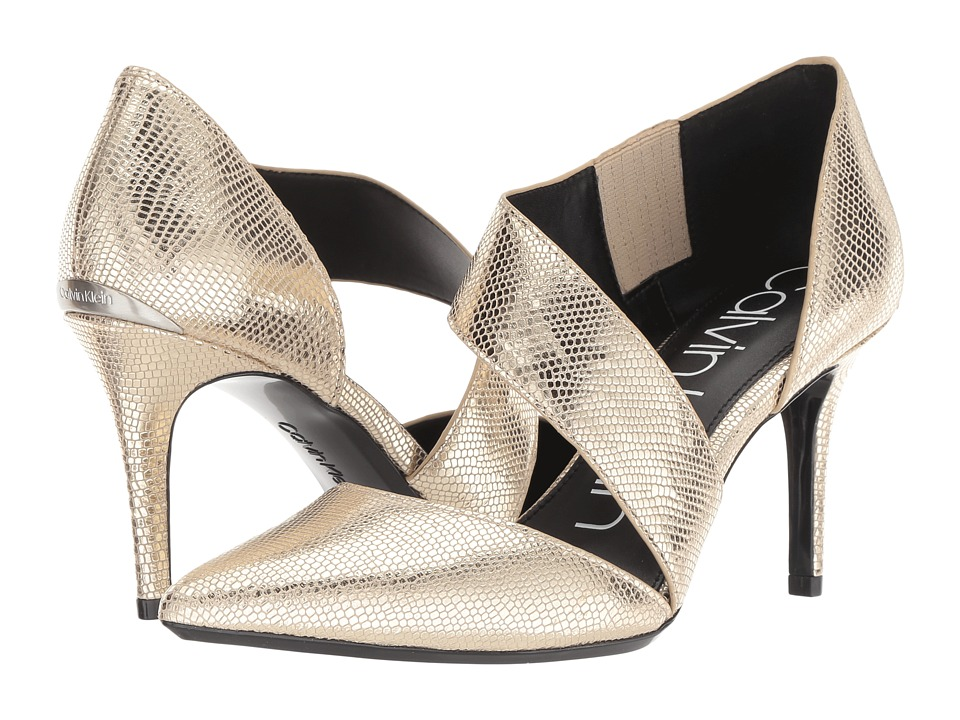 Calvin Klein Gella Pump (Soft Gold Shiny Lizard) High Heels