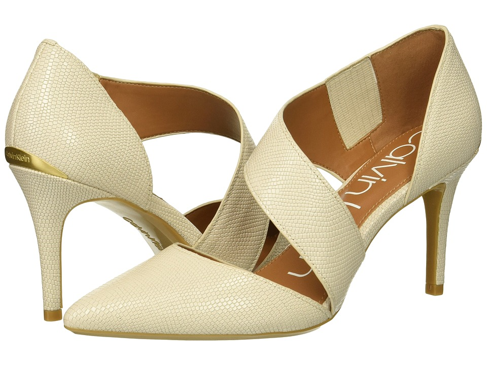 Calvin Klein Gella Pump (Soft White Shiny Lizard) High Heels