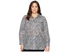 LAUREN Ralph Lauren Plus Size Silk Cotton Voile Long Sleeve Shirt