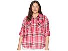 LAUREN Ralph Lauren Plus Size Yarn-Dyed Pomegranete Plaid Long Sleeve Shirt
