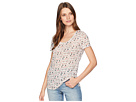 TWO by Vince Camuto Short Sleeve Whimsical Ditsy Printed Scoop Neck Tee