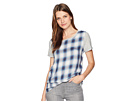 TWO by Vince Camuto Short Sleeve Mixed Media Plaid Cotton Slub Top